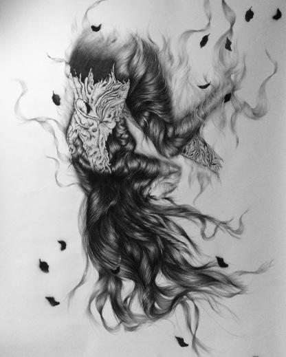 Fall, 200 x 150 cm, houtskool, fineliner en acrylspray op papier