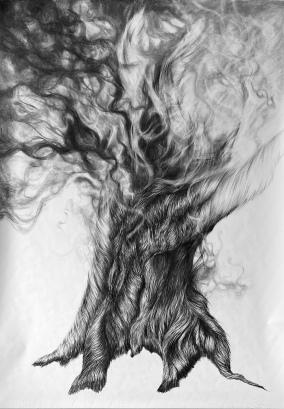 zwartgeblakerd, 200 x 150 cm, houtskool op papier