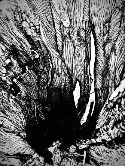houtskool op print, A3 formaat