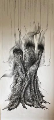 Tree-ish, 200x 100 cm, houtskool en draad op papier